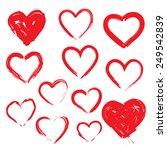 vector set of hand drawn hearts.... | Shutterstock .eps vector #249542839