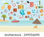 travel vacation flat design set.... | Shutterstock .eps vector #249556690