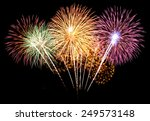 colorful fireworks on the black ... | Shutterstock . vector #249573148