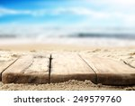 Wooden Old Table Top And Sea...