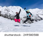 happy couple jumping on the... | Shutterstock . vector #249580588
