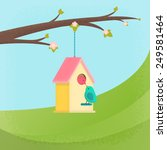 birds and birdhouse  spring | Shutterstock .eps vector #249581464