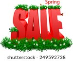 red sale word in the grass and... | Shutterstock .eps vector #249592738