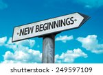 new beginnings sign with sky... | Shutterstock . vector #249597109