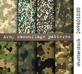 Set Of 8 Army Camouflage...