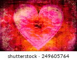 Heart On Fire Grunge Background