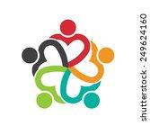teamwork 5 heart people logo...   Shutterstock .eps vector #249624160