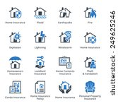 home insurance icons   blue... | Shutterstock .eps vector #249625246