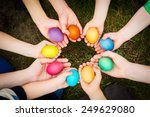 Colorful Easter Eggs In Child...