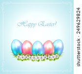 easter eggs with flower on blue ... | Shutterstock . vector #249629824