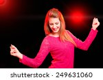 Happy Woman Dancing In A Disco