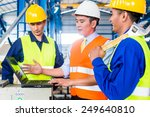 team of workers and engineer ... | Shutterstock . vector #249640810