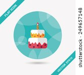 birthday cake flat icon with... | Shutterstock .eps vector #249657148