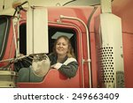 woman truck driver leaning out... | Shutterstock . vector #249663409
