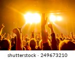 silhouettes of concert crowd in ... | Shutterstock . vector #249673210