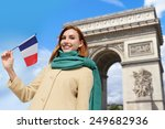 happy woman travel in paris ... | Shutterstock . vector #249682936