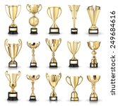 set of golden trophies.... | Shutterstock . vector #249684616