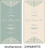 set of antique greeting cards, invitation with victorian ornaments, beautiful, luxury postcards | Shutterstock vector #249684970