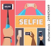 monopod selfie self portrait... | Shutterstock .eps vector #249692449