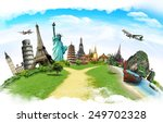 travel the world monument... | Shutterstock . vector #249702328