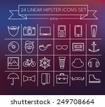 linear hipster vector icons set
