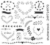 Romantic and love illustrations and typography for Happy Valentines Day. Template for wedding, mothers day, birthday, invitations. Hearts, flowers, ribbons, wreaths, laurels, jar.
