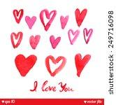 decorative hearts set. i love... | Shutterstock .eps vector #249716098