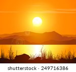 landscape with sunset at the... | Shutterstock .eps vector #249716386