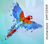flying low poly parrot.... | Shutterstock .eps vector #249725509