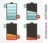 battery life retro flat design...