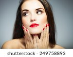 natural woman face with red... | Shutterstock . vector #249758893