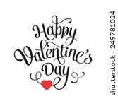 Vector Happy Valentines Day Vintage Card With Lettering | Shutterstock vector #249781024