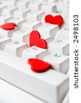 red hearts on white keyboard | Shutterstock . vector #2498103