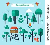 Forest Trees Flat Modern Icons...