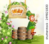 leprechaun sitting on barrels... | Shutterstock .eps vector #249821830