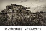 Military equipment since World War II. Burnt tank.