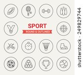 set of round and outlined sport ... | Shutterstock .eps vector #249829744