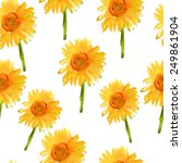 seamless watercolour sunflowers ... | Shutterstock .eps vector #249861904