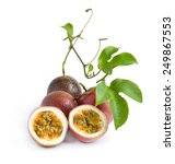 passion fruit isolated on white ... | Shutterstock . vector #249867553