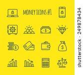 money vector line icons set 1