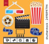 cinema flat icons set | Shutterstock .eps vector #249899794