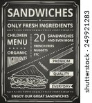 sandwich poster on blackboard.... | Shutterstock .eps vector #249921283