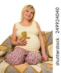 pregnant woman in bed. white...   Shutterstock . vector #249924040