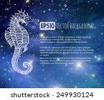 seahorse in blue glowing sea.... | Shutterstock .eps vector #249930124