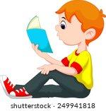 little boy reading a book | Shutterstock .eps vector #249941818