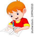 little boy drawing on a piece... | Shutterstock .eps vector #249942010