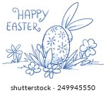 cute easter bunny hiding behind ... | Shutterstock .eps vector #249945550