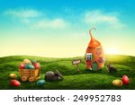 Spring Easter Meadow With Egg...