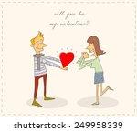 boy giving his heart to a girl. ...