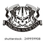 motorcycle machine skull ribbon | Shutterstock .eps vector #249959908